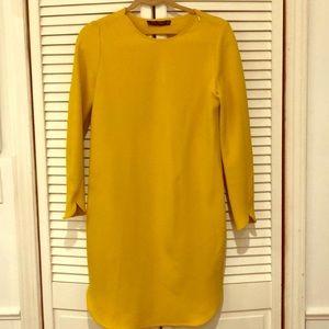 Zara back hole mustard yellow slit dress xs